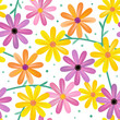 Seamless gerbera daisy flowers pattern, background, wallpaper