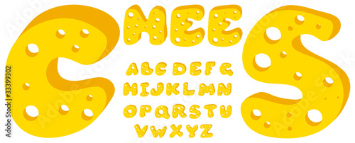 Vector yellow cheese alphabet on a white background