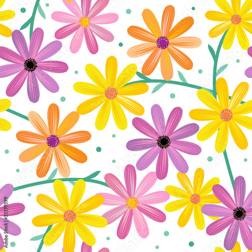 Seamless gerbera daisy flowers pattern, background, wallpaper
