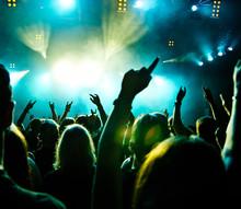 Concert foule en mouvement