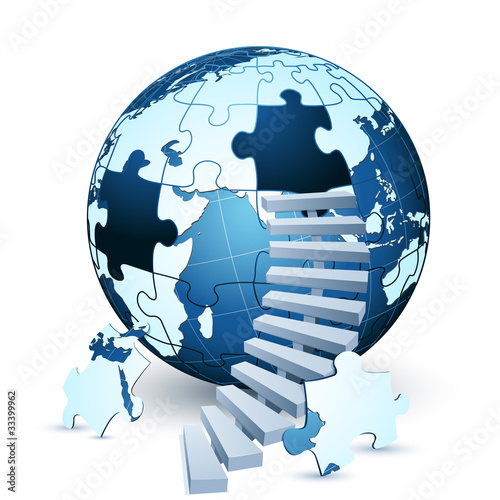 earth jigsaw puzzle with stairs