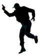Police officer running with a handgun