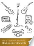 Fototapety set rock music instrument