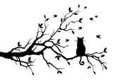 cat on a tree with birds, vector - 33403371