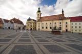 main square historical arhitecture in Sibiu Transylvania Romania poster