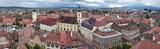 Panorama of old town Sibiu in Transylvania Romania poster