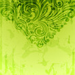 Green vintage background with scrolls and watercolor effect