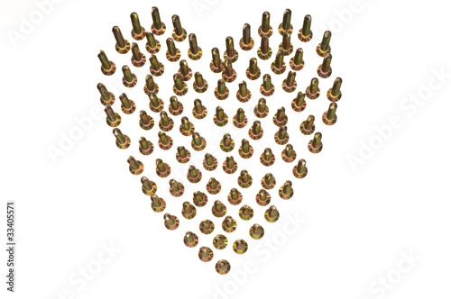 Plan View of Brass Screws stood forming Heart Shape