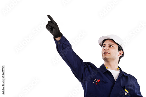 Portrait of a working engineer. Isolated on white