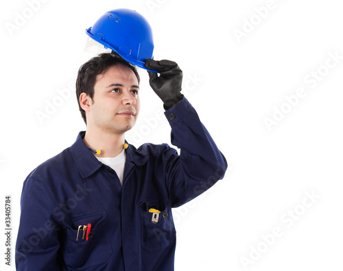 Working engineer portrait, isolated on white