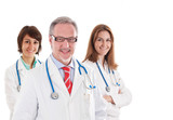 Group of smiling doctors isolated on white