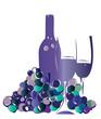 Weinflasche mit Gläsern und Trauben