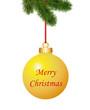 Goldene Weihnachtskugel mit Gruss