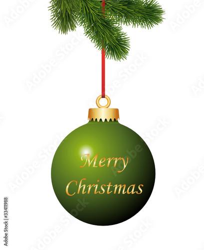 Grüne Weihnachtskugel mit Weihnachtsgruss