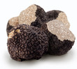 Leinwanddruck Bild - Black truffles on a white background