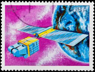 Postal stamp. Sattelite, 1988.