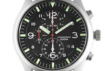 Close up of a Men's chronograph wrist watch