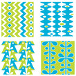 Set of bright abstract seamless paterns in blue and green color