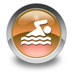 "Orange Glossy Pictogram ""Swimming"""