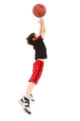 Energetic Boy Child Jumping with Basketball