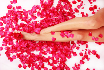 Beautiful womans legs with roses blossoms