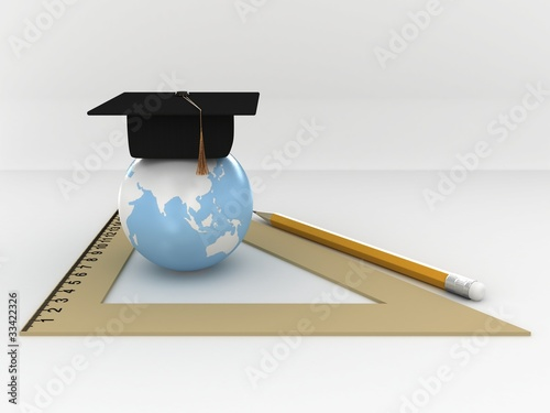 Master's cap for graduates in the globe with ruller and pensil.