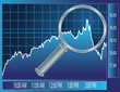 Stock market trend under magnifier glass