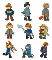 cartoon Fireman icon set.