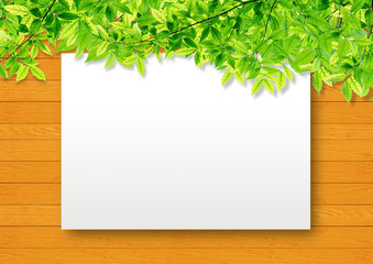 Green leaf border on soft wood synthesis background template