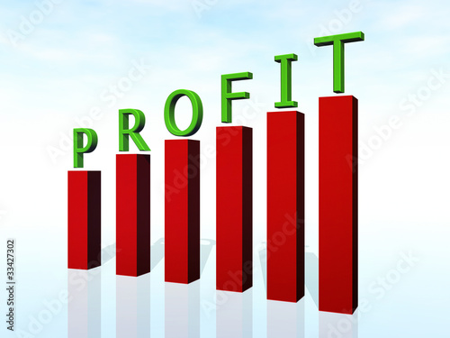 profit 3d text and business graph