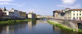 Florenz - Fluss Arno mit Ponte Vecchio poster