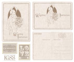 Retro Wedding Invitation postcard with Bride - for design and sc