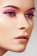 Сlose-up face sexy woman model with glamour eye make-up