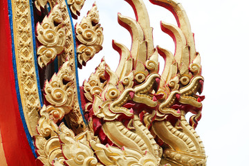 Naga in temple roof in Thailand.