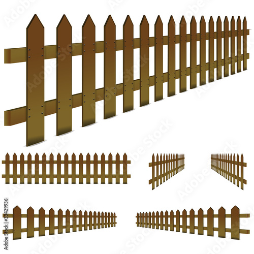 set of perspective, brown fence isolated on white background