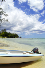 Boat at the beach in Mauritius