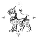 Lion Thai Tattoo Ancient . Vector template - 33430305