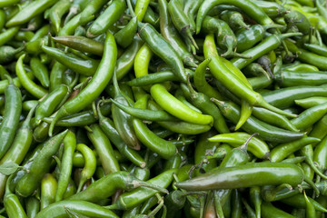 fresh green chillies, vegetable market in Jaipur, India