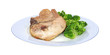 Pork chop and broccoli on blue striped plate