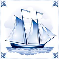 Ship on the Blue Dutch tile 7, Schooner
