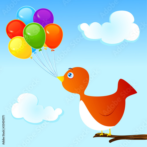 Uccellino e palloncini - Bird and balloons