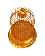 Confinement: Golden birdcage isolated