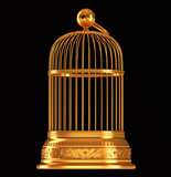 Golden birdcage isolated on black