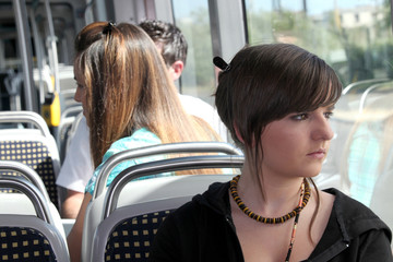 Young person on the tram