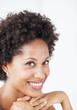 African American business woman smiling