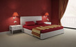 Red luxury sexy passionate, vintage, modern bedroom
