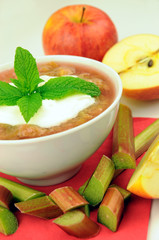delicious and nutritious rhubarb compote dessert with apples