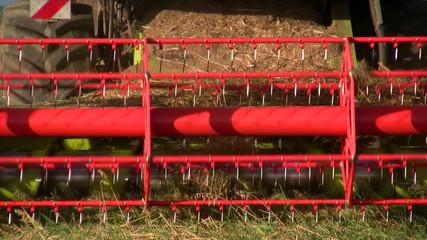 Combine working in a wheat field