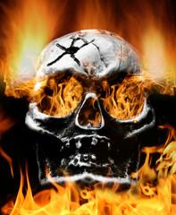 Scary flaming skull