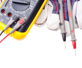 Digital multimeter, probes and gloves